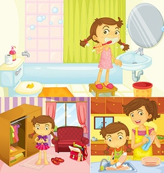 Girl doing different activities at home vector