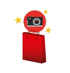 camera red bag gift star design vector image