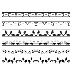 set of floral borders vector image