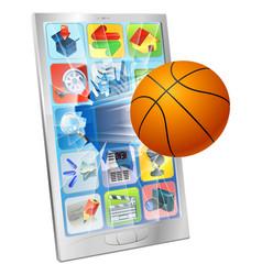 basketball ball mobile phone vector image