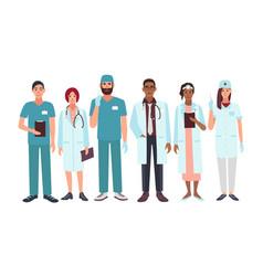 set of doctors different specialization nurse vector image