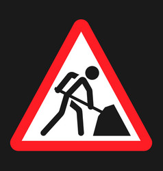 Road works sign flat icon vector
