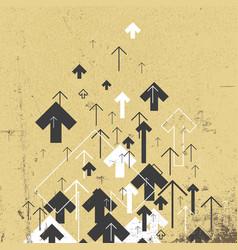 Vintage success concept growing arrows motion up vector