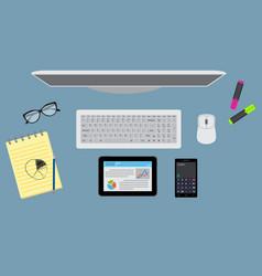 Office desktop organzation with stationary vector