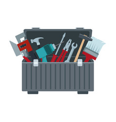 tools box with carpentry equipment instruments vector image
