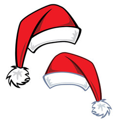 2 cartoon Santa hats vector image
