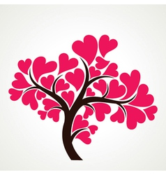 Lover tree with pink heart shape leaf vector