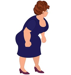 Cartoon fat woman in blue dress vector