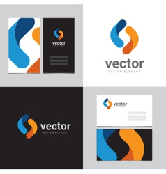 Logo design element with two business cards - 15 vector