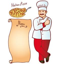 Cook male Italian Pizza Menu vector image
