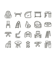Furniture for home simple line icons set vector