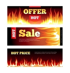 Burning fire hot sale horizontal banners vector