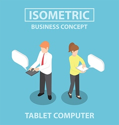 Isometric business people using tablet computer vector