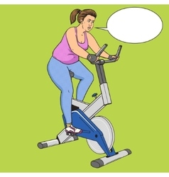 Fat woman on exercise bike pop art style vector
