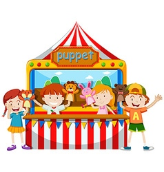 Children playing puppet together vector