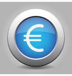 Blue metal button with euro currency symbol vector