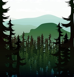 Background green realistic nature of the forest vector