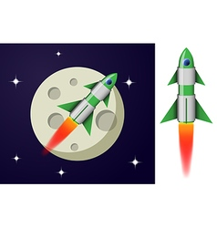 Green and white cartoon steel rocket vector