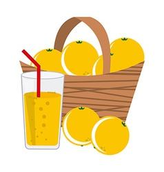 Basket oranges vector