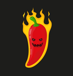Burn hot angry evil chili pepper in fire vector