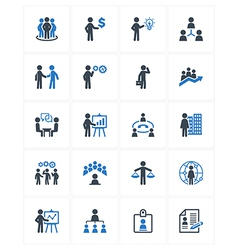 Business management icons - blue series vector