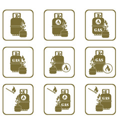 Camping stove with gas bottle icons set vector