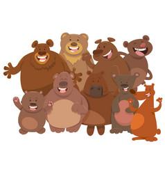 cartoon wild bears animal characters group vector image vector image