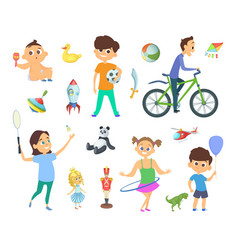 children playing at different games and toys vector image vector image