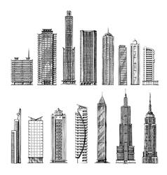 city hand drawn sketch skyscrapers vector image
