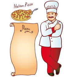 Cook male italian pizza menu vector