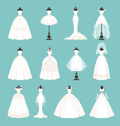 different styles of brides dresses vector image