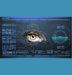 Eye in process of scanning biometric scan with vector
