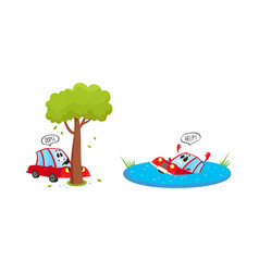 flat car character accident set vector image