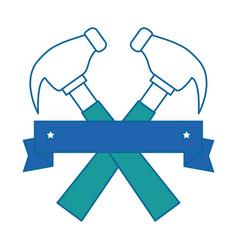hammers labour day celebration emblem vector image