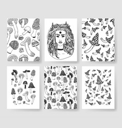 hand drawn patterns brochures actual vector image vector image