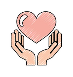 hand human with heart love vector image