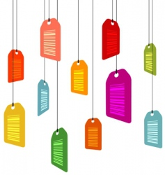 hanging price tags with barcodes vector image vector image