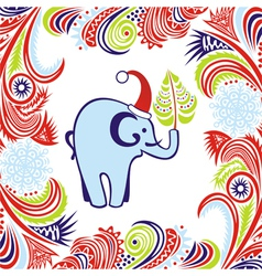 Happy new year merry christmas card elephant vector image vector image