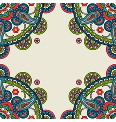 Indian doodle paisley colored frame vector