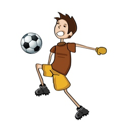 kid playing football vector image vector image