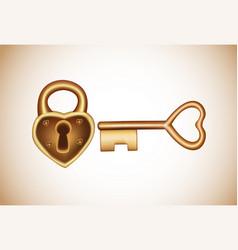 Lock and key in flat style padlock with key vector