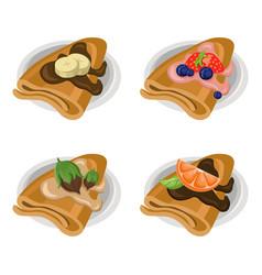 Pancakes set chocolate syrop and banana and fruits vector