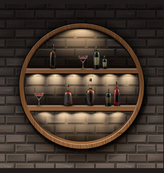 round wooden shelves vector image