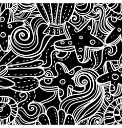 Seamless monochrome sea background vector image