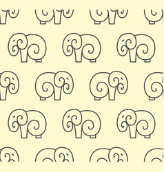 seamless pattern of simple elephant one line art vector image vector image
