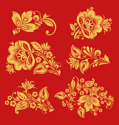 Seamless pattern with hohloma decor elements vector