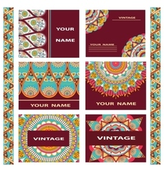 Set business cards invitations decorative flowers vector