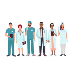 set of doctors different specialization nurse vector image