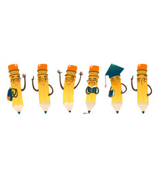 set of happy cartoon pencils vector image vector image