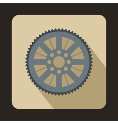 Sprocket from bike icon flat style vector